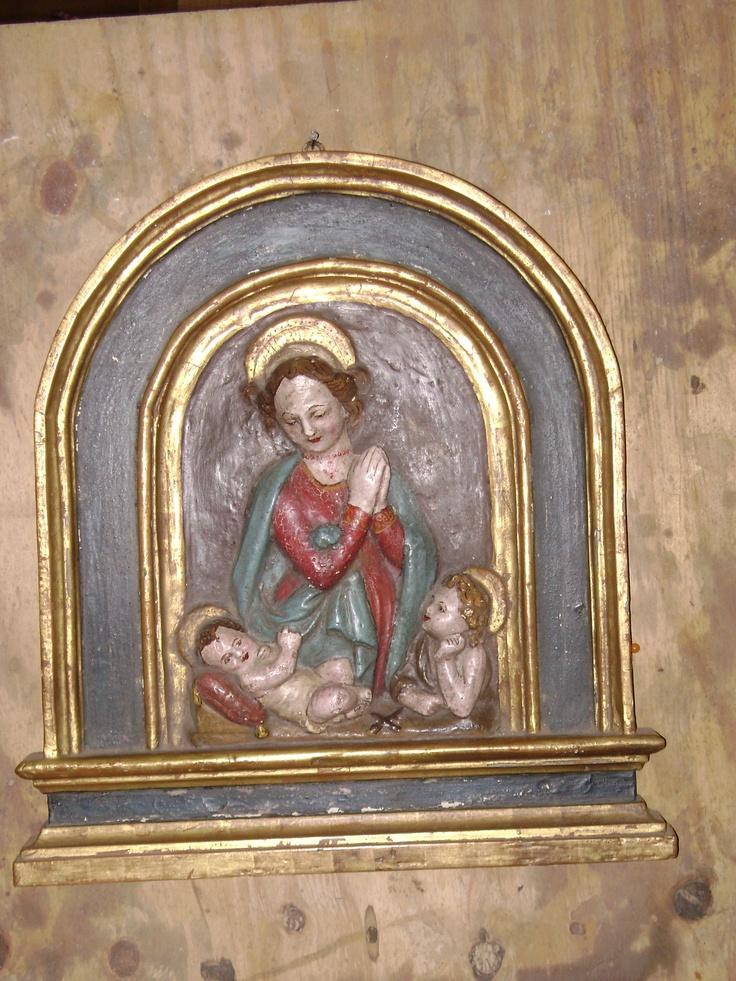 papier màchè Madonna with wooden frame