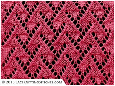 Lace knitting. Chart no.12 - Multiple of 10 sts, + 7