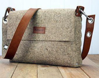 Felt Handbag with fold over top Felt Bag Womans Purse by Rambag