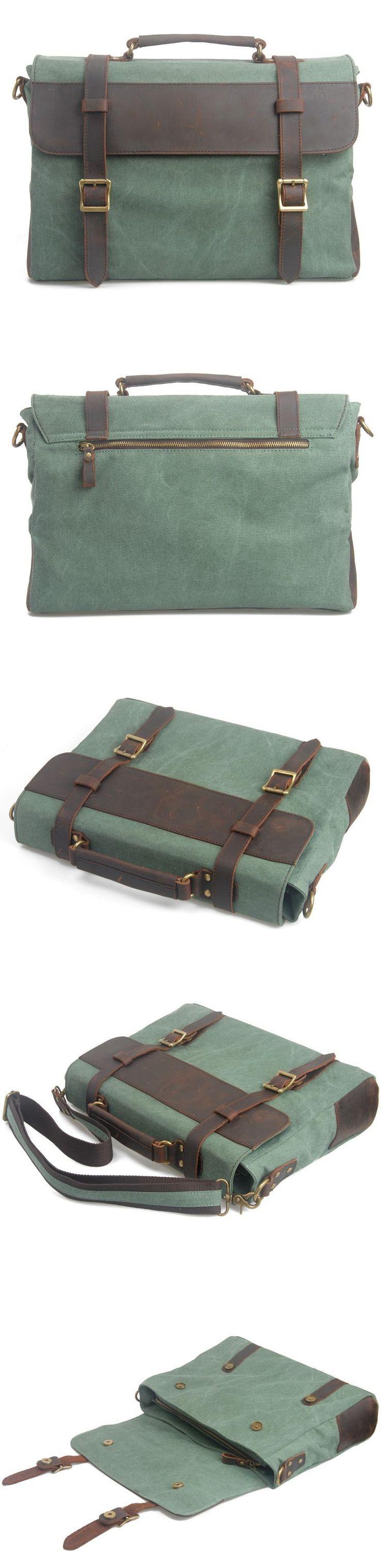 Handmade Vintage Crazy Horse Leather Canvas Single Shoulder Bags / Messager Bags / Briefcase / 14' 15' MacBook Laptop Bags (m6870-1) · Handm...
