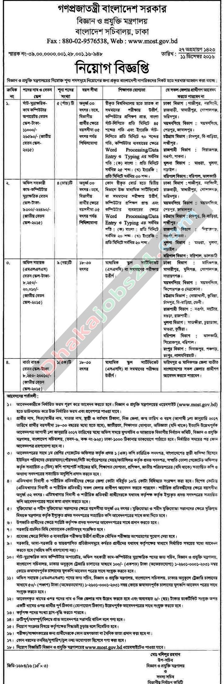 Science and Technology Ministry Job Circular 2017