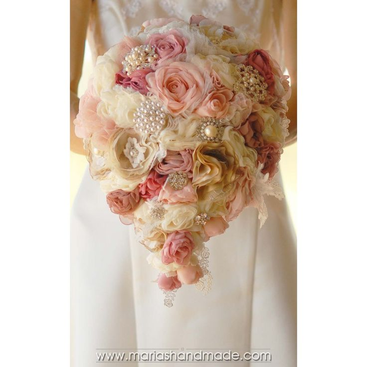Cascading fabric bridal bouquet by M.aria's Handmade fabric bridal bouquets