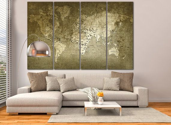 Large Wall Art World Map Canvas Print Living Room Panel Vintage Old