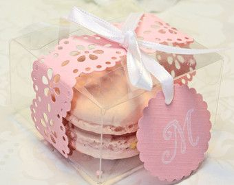 Pink Doily Shower Favors Pink French Macaron by IndayaniBakedGoods