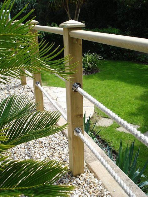 fence and rope garden edging ideas