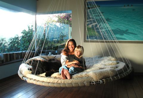 Floating Hammock Beds!! They rock you to sleep like a baby!! :) So cool I want one.Decor, Ideas, Hanging Beds, Stuff, Future, Floating Beds, Living Room, Dreams House, Porches