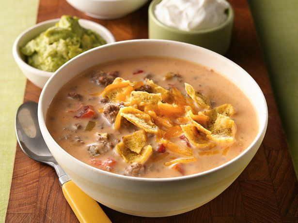 With taco toppings, this cheesy soup is one your family will ask for again and again.