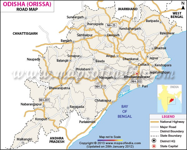 Orissa Road Network Map