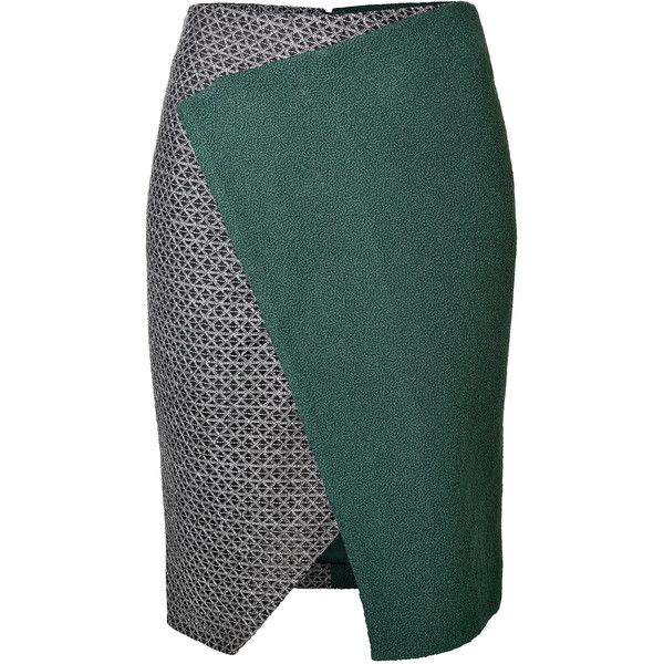 Prabal Gurung Angular Skirt (466 AUD) ❤ liked on Polyvore featuring skirts, bottoms, green, pencil skirts, structured pencil skirt, green pencil skirt, fitted pencil skirt and knee length pencil skirts