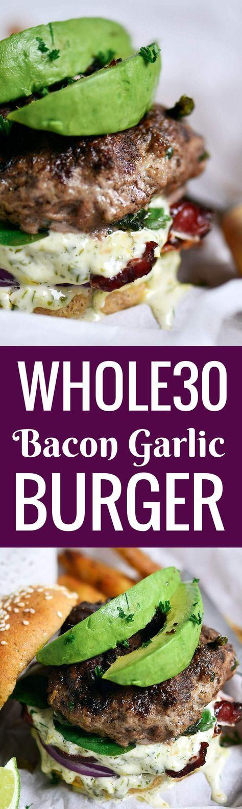Paleo Whole30 Bacon Garlic Avocado Burger | Paleo Gluten Free Eats