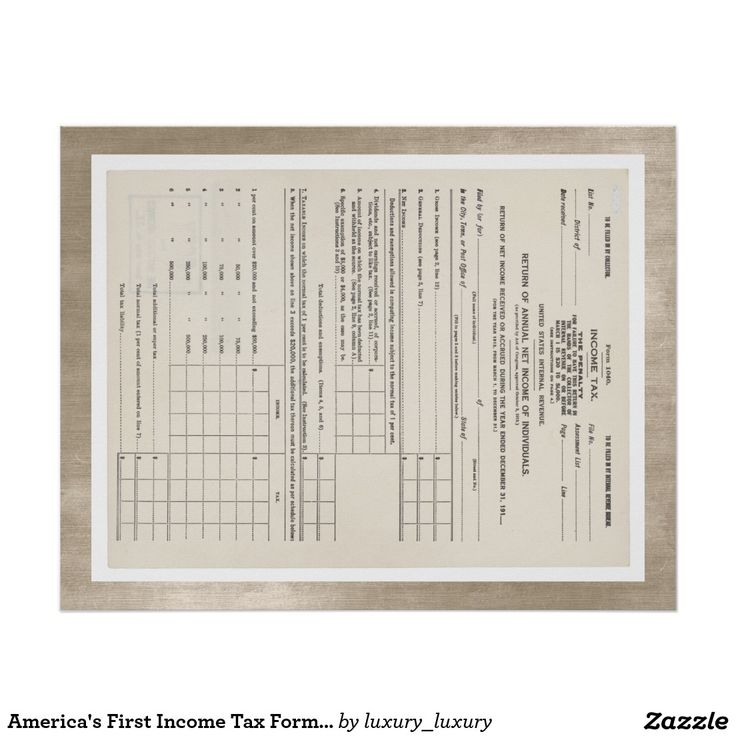 America's First Income Tax Form 1040 Red Poster