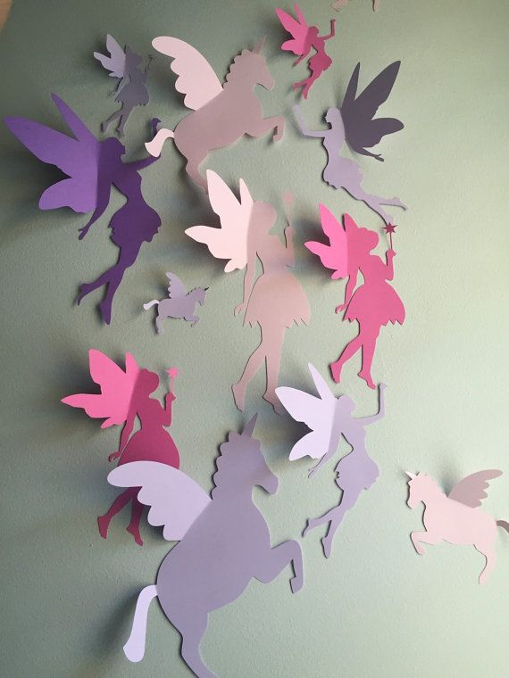 Unicorn and Fairy Wall Decor 3d unicorn and fairy by SimplyNesting