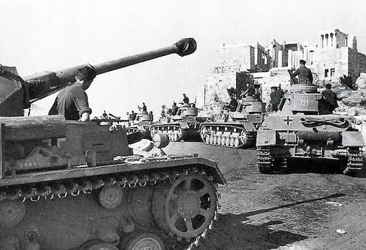 German tanks rumble through the streets of Athens on April 27, 1941 as they approach one of the enduring symbols of democracy in Greece, the renowned Acropolis.