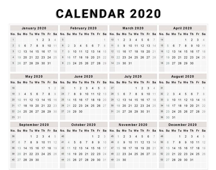 Calendar 2020 Free Template With Weeks Printable
