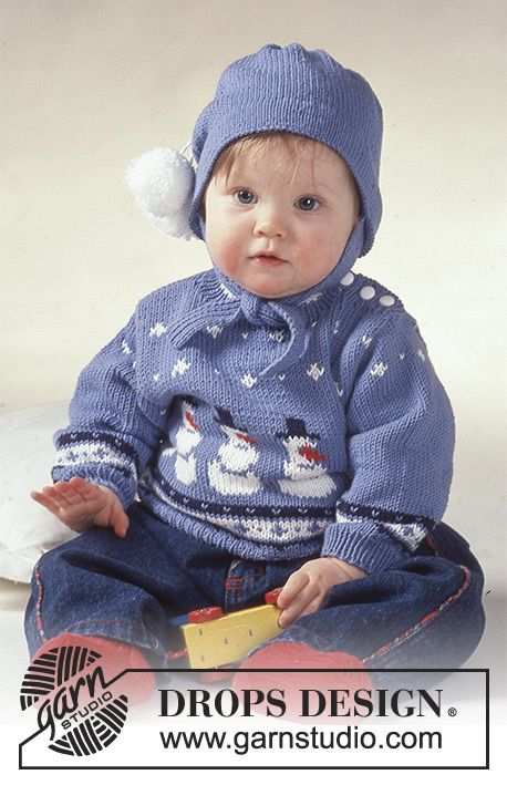 Fun with Frosty / DROPS Baby 2-8 - DROPS jumper with snowman motif, socks and hat.