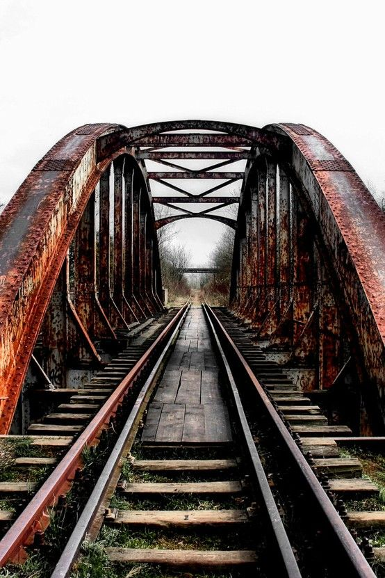 Wicked old train trestle in Poland.