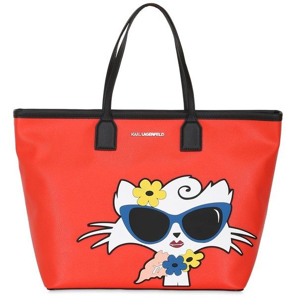Karl Lagerfeld Women Choupette Beach Tote Bag ($410) ❤ liked on Polyvore featuring bags, handbags, tote bags, red, red purse, beach tote, rubber purse, beach bag tote and red handbags