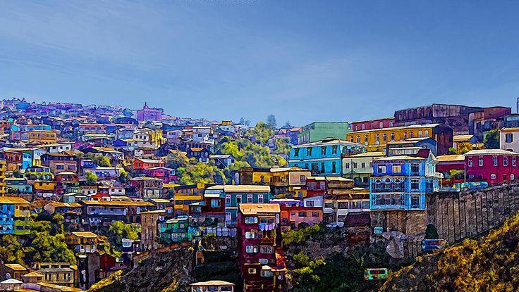 cerros de Valparaiso con distintos colores y llamativos.