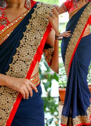 Navy Blue Embroidery Work Georgette Designer Party Wear Fancy Sarees http://www.angelnx.com/Sarees/Designer-Sarees                                                                                                                                                                                 More