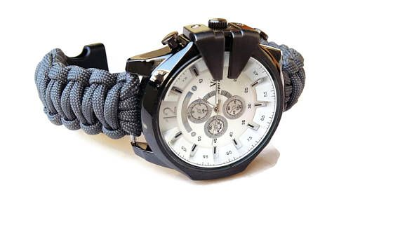 Paracord wrist watch men Military watch Gray paracord strap