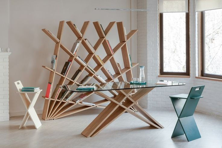 Double-sided freestanding wood-product bookcase CHEFT by Studio Pousti