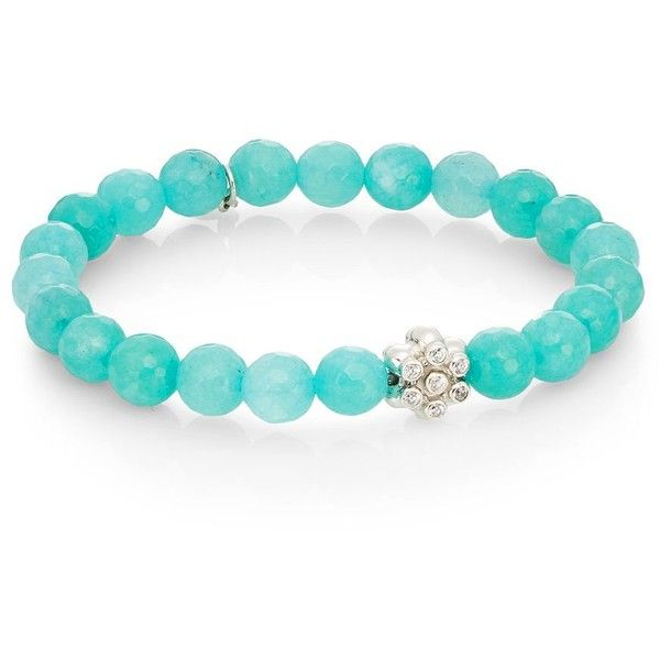 Anzie Boheme Aqua Jade & Sterling Silver Bracelet ($113) ❤ liked on Polyvore featuring jewelry, bracelets, sterling silver charms, bead charms, fine jewelry, beaded bangles and sterling silver bangles