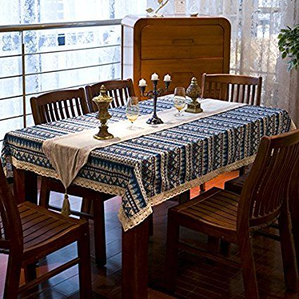 "Bohemian ethnic style lace tablecloth fabric European Mediterranean garden table cloths,European pastoral cloth tablecloths,living room coffee table dining Restaurant tablecloths Blue XX-Large(55""70"")"