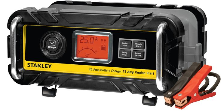 Stanley BC25BS 25 Amp High Frequency Bench Battery Charger with 75 Amp Engine Start, Alternator Check and Battery Reconditioning