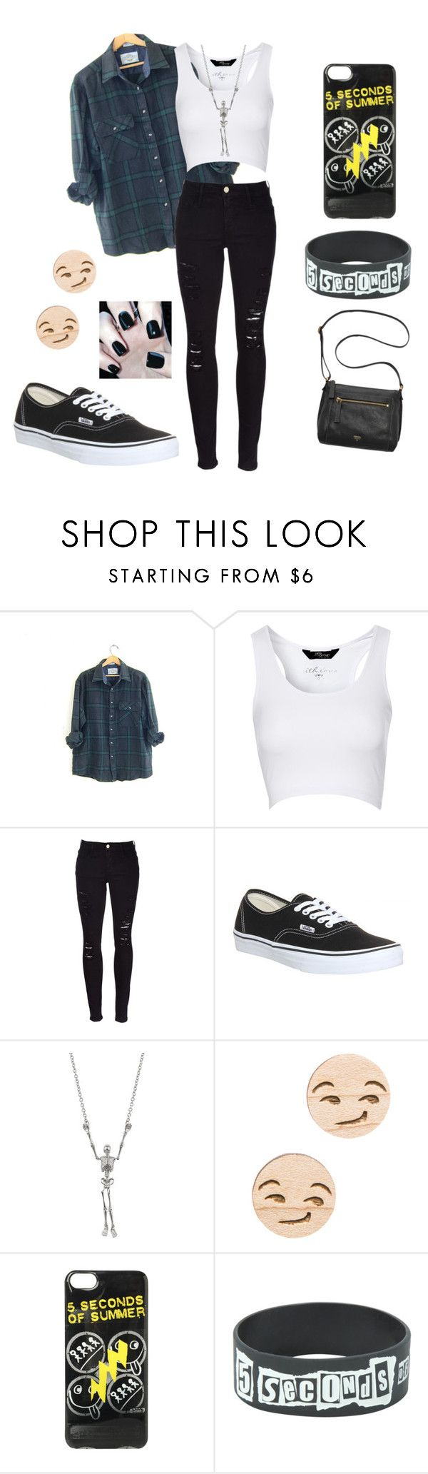 """""""5sos Concert Outfit Ideas #3"""" by jazziwheat ❤ liked on Polyvore featuring Jane Norman, Frame Denim, Vans, GoodWood and FOSSIL"""
