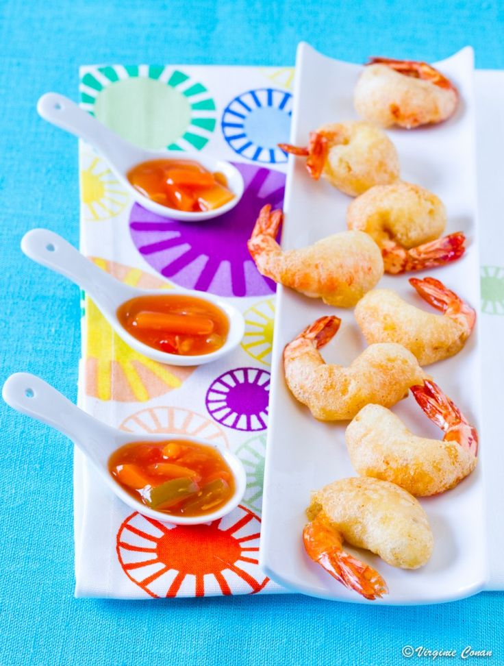 Tempura de crevettes et sauce aigre douce on http://chefsansgluten.com