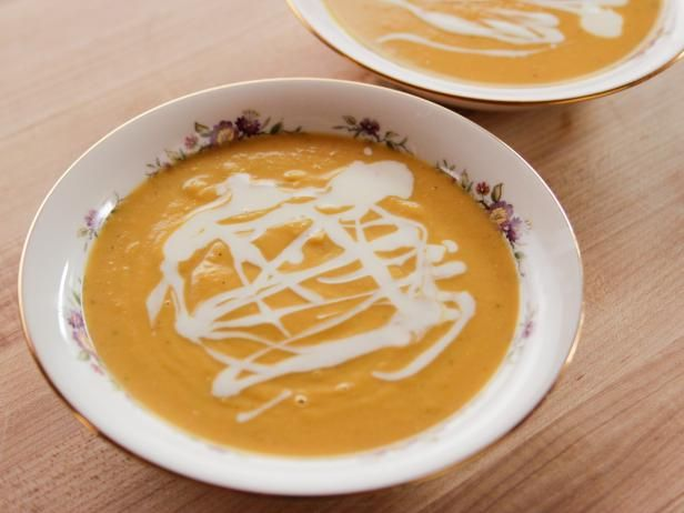 Get Butternut Squash Soup Recipe from Food Network. Add a touch of maple syrup and a touch of cayenne for heat and sweet.  Can also add a bit of orange zest and juice.