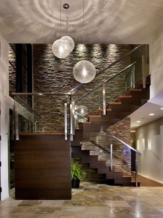 Wooden Stairs and Stone Wall