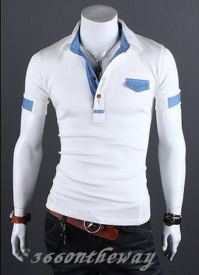 Para Hombre Elegante Casual Slim Fit Manga Corta Polo Camisa Camisetas Tee Shirt E651