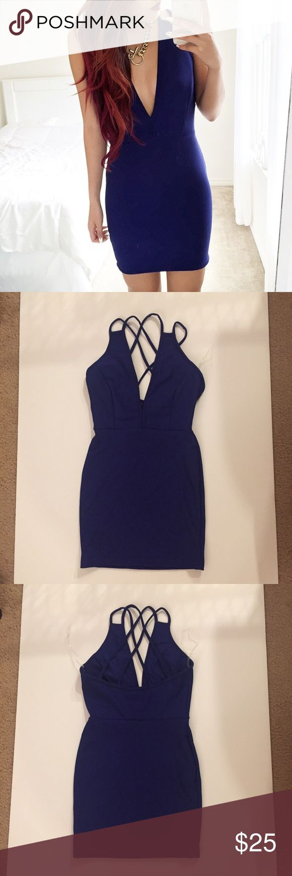 LIKE NEW blue strappy bodycon dress -S Only worn once for picture, deep blue bodycon dress from the vintage shop.  NOT missguided, tagged for exposure.  Size small.  Tags: tiger mist, showpo, forever 21, hello Molly, mura, stelly, hot Miami styles Missguided Dresses Mini