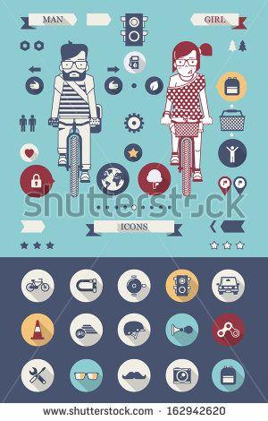 fondo de bicicleta hipster con iconos planos
