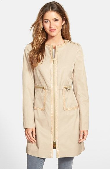 Must have! Via Spiga Front Zip Collarless Topper (Petite) available at #Nordstrom