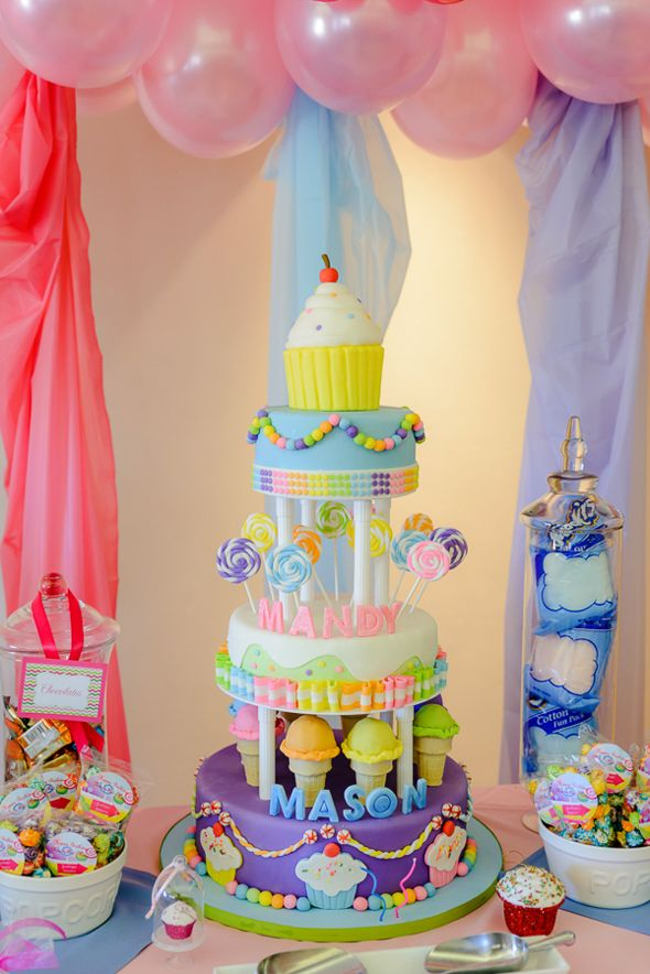 Candyland Birthday Party Cake featured on Pretty