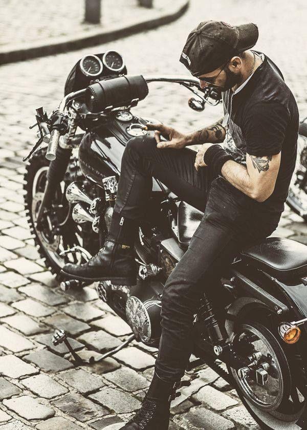 Beard...check, tattoos...check, motor bike...check check
