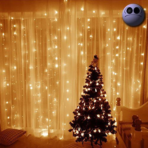 #decor 3 x 3m 300 LEDs Curtain String Lights Features: 1. Anti-cold and waterproof LED lights can against frost. Ideal for indoor and outdoor #decoration, it wil...