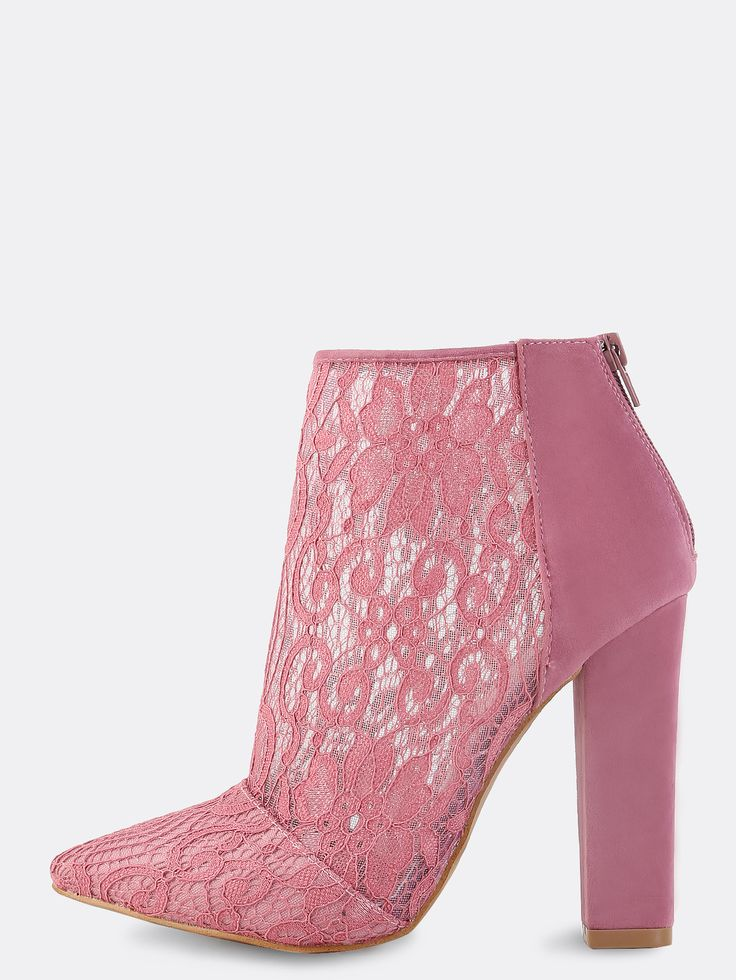 "Stay on point with the Pointed Toe Lace Ankle Boots! Features a pointed toe, back zipper and lace body. Finished with a faux suede, chunky 4.5"" in. chunky heel. Complete the look with a cowl neck top and satin flare pants. #pastel #MakeMeChic #style #fashion #newarrivals #fall16"