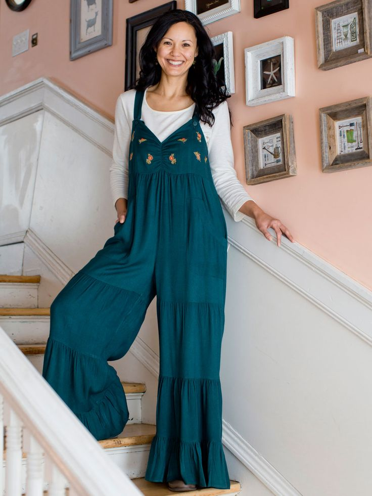 Don't be scared - jump right into one of our liberating, adorable jumpsuits for the season! They are cute, with precious embroidered florets on the bodice, they are funky, with their gathered, panel design, and of course, they're totally comfy, made in a luxuriously silky rayon blend.