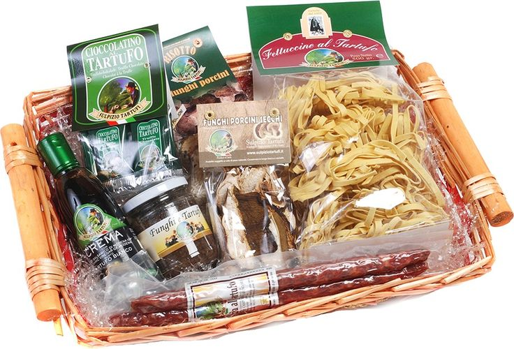 Liberato basket (1 Truffle Fettuccine 500 gr, 1 Truffle Salami approx. 200 gr, 1 Dried Porcini 30 gr, 1 Porcini Ready Risotto 300 gr, 1 Truffle Chocolates 50 gr, 1 Cream of Balsamic Vinegar and White Truffle 250 ml, 1 Mushrooms and Truffles 180 gr)
