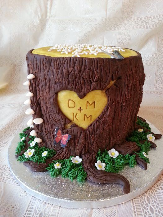 Wooden Anniversary Cake Cake Ideas Pinterest Trees