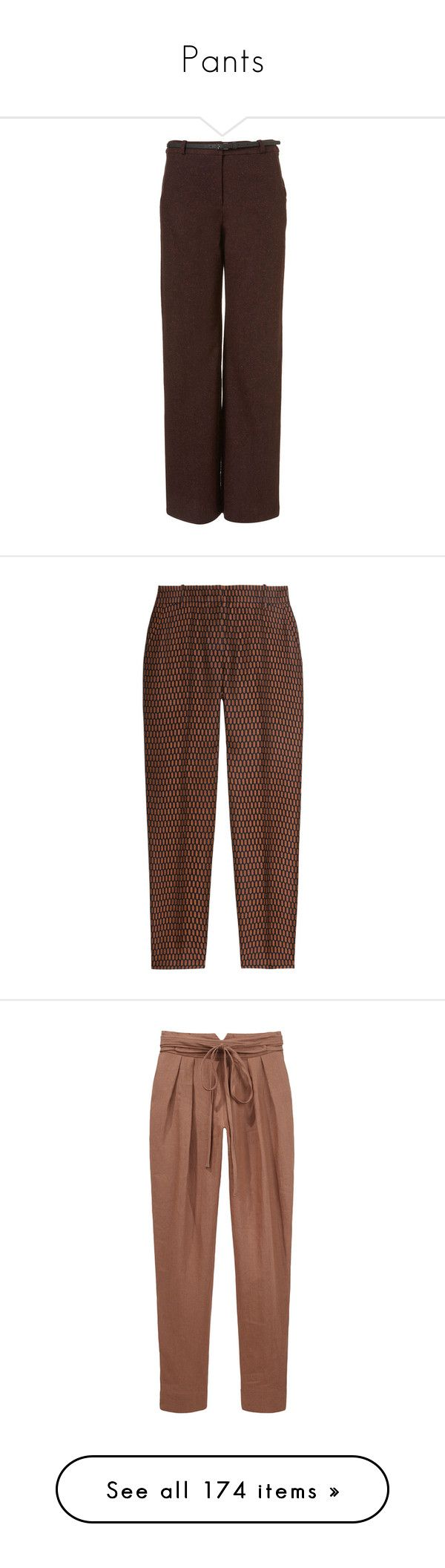 """""""Pants"""" by alexandragoga ❤ liked on Polyvore featuring pants, trousers, bottoms, брюки, women, brown tweed pants, wide leg pants, tweed trousers, brown pants and tweed pants"""