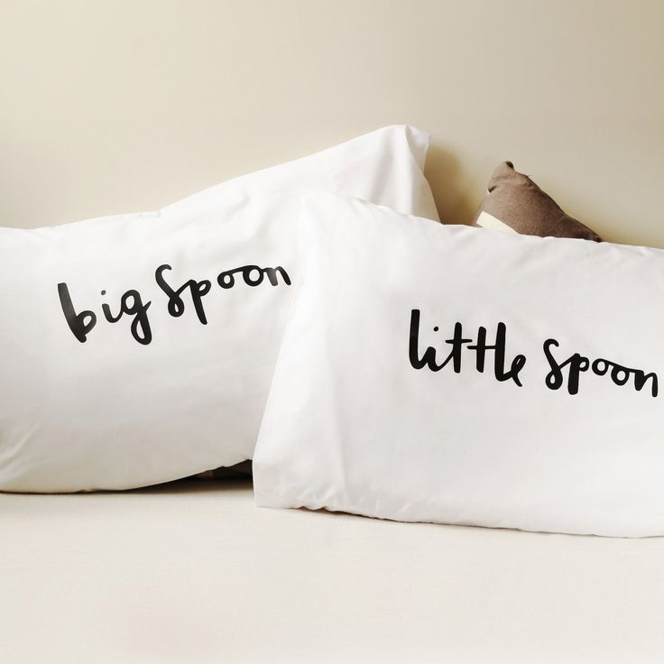 Spooning Pillow case set - 2 pillow covers - Home wedding gift - engagement gift - anniversary gift - big spoon little spoon by OldEnglishCo on Etsy