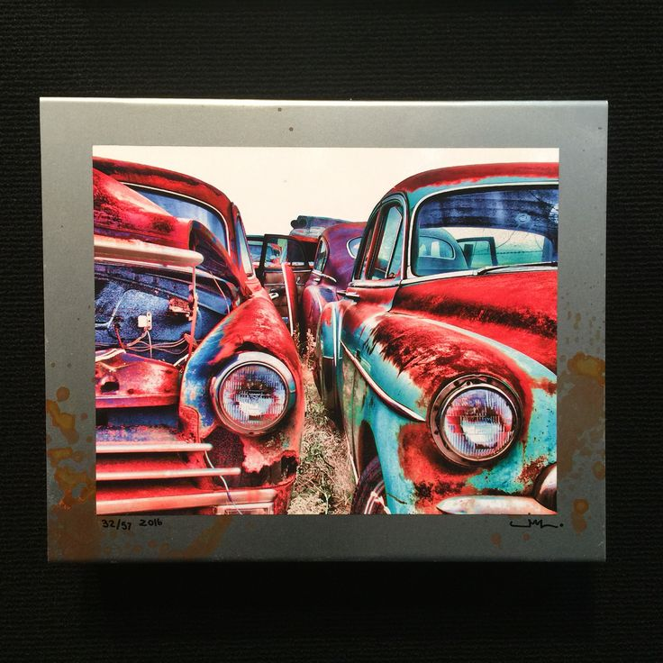 """Jalopy collection #J-100 Title: """"companions"""" Chevys Size: 12"""" x 10"""" x 2.5"""" $85 Www.saltedstudio.com (old car photos - Chevy)"""