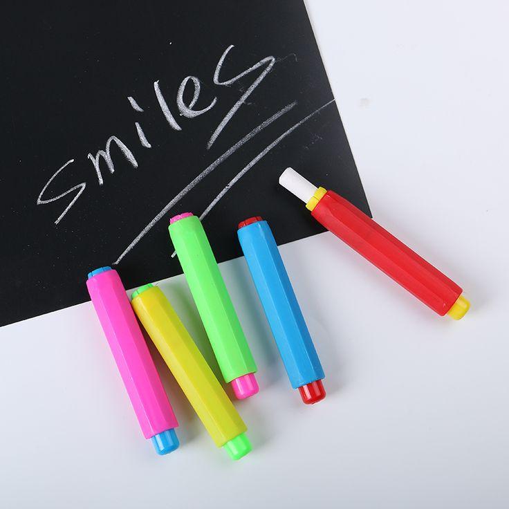 2 UNIDS Coloridos Titulares De Tiza Tiza Enseñanza Mantener Limpio Para El Profesor Niños Educación En El Hogar Conjuntos