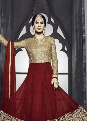 Product Code 41007 - Smashing Red Embroidered  Anarkali Suit