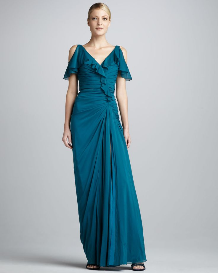 Ruffled Cold-Shoulder Gown by Badgley Mischka at Neiman Marcus.