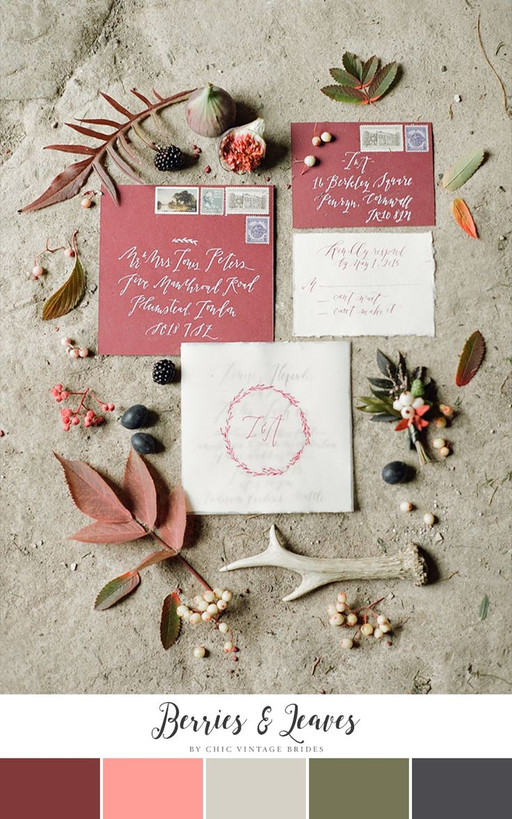 Autumn Berries & Leaves Fall Wedding Color Palette || Wedding Stationery || Calligraphy Wedding Invitations || Fall Wedding Ideas